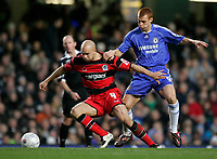 Photo: Tom Dulat.<br /> <br /> Chelsea v Queens Park Rangers. FA Cup Third Round. 05/01/2008. <br /> <br /> Gavin Mahon of Queens Park Rangers and Steve Sidwell of Chelsea with the ball.