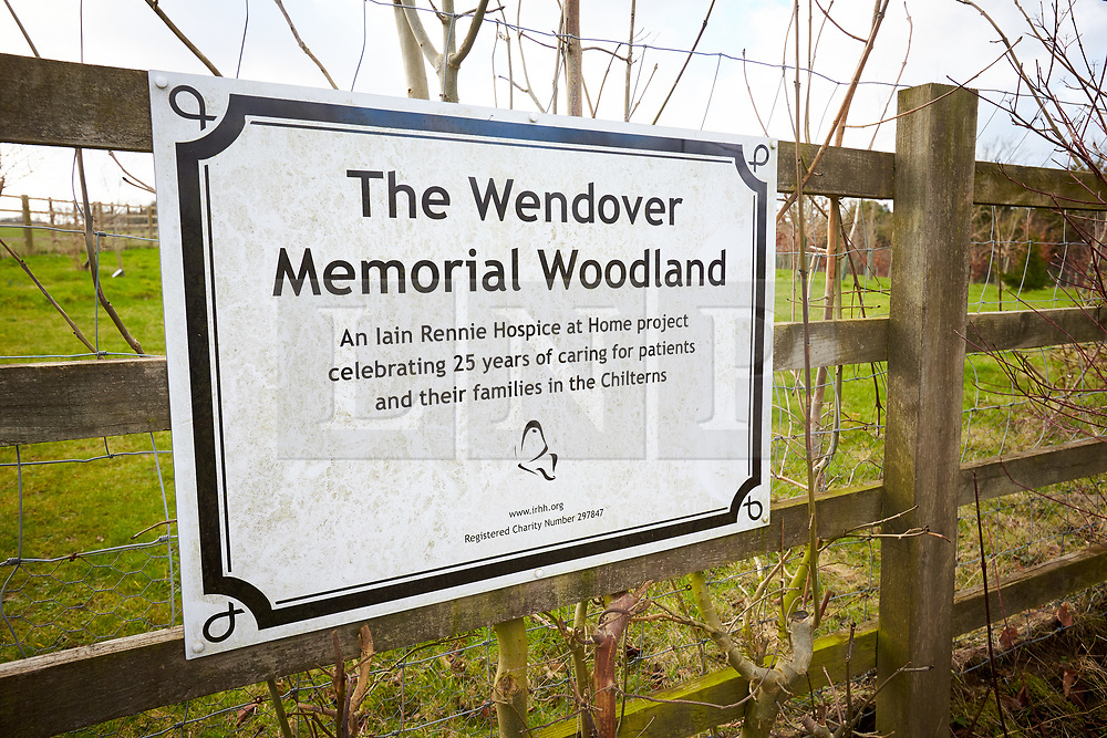 © Licensed to London News Pictures. 11/02/2020. Wendover, UK.  Sign for the Wendover Memorial Woodland which lies directly on the proposed HS2 route. It and a number of ancient woodlands will be cut down to make way for the controversial high speed railway between London and Birmingham. Taken from a public footpath. Photo credit: Cliff Hide/LNP
