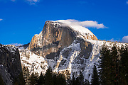 Evening light on Half Dome in winter, Yosemite National Park, California USA