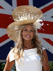 Samantha Gibbins poses for photographs on day three of Royal Ascot at Ascot Racecourse.