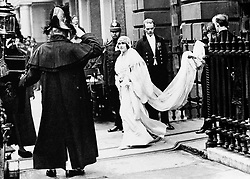 Lady Elizabeth Bowes-Lyon (later Queen Elizabeth, the Queen Mother) leaving her Bruton Street home, London, before marrying the Duke of York (later King George VI) at Westminster Abbey.