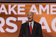 Florida Governor Rick Scott addresses delegates during the Republican National Convention July 20, 2016 in Cleveland, Ohio.