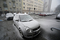 March 26, 2019 - Warsaw, Poland - Cars covered in hail are seen in Warsaw, Poland on March 26, 2019. A sudden hail storm, strong winds and a drop in temperature occured less than a week after the start of Spring in the country's capital. (Credit Image: © Jaap Arriens/NurPhoto via ZUMA Press)