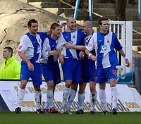 Photo: Jed Wee/Sportsbeat Images.<br /> Hartlepool United v Hereford United. Coca Cola League 2. 03/03/2007.<br /> <br /> Hartlepool celebrate with goalscorer Ben Clark (C).