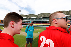 Australia's Nathan Lyon chats with South Australian Diasability Cricket players during a press conference at the Adelaide Oval, Adelaide.
