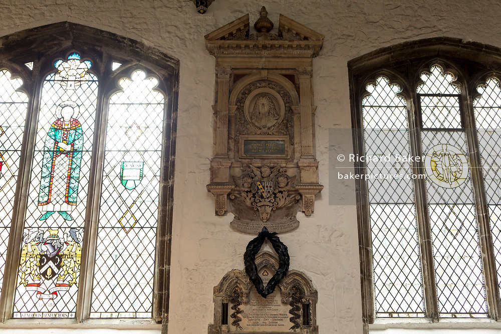 The memorial to 17th century London diarist, Samuel Pepys in St Olave's Church on the corner of Seething Lane in the City of London, on 30th May 2018, in London, England.
