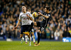 Nabil Bentaleb of Tottenham Hotspur and Muhamed Besic of Everton compete for the ball - Photo mandatory by-line: Rogan Thomson/JMP - 07966 386802 - 30/11/2014 - SPORT - FOOTBALL - London, England - White Hart Lane - Tottenham Hotspur v Everton - Barclays Premier League.