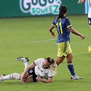 ORLANDO, FL - JANUARY 22:  Samantha Mewis #3 of United States suffers an injury against Colombia at Exploria Stadium on January 22, 2021 in Orlando, Florida. (Photo by Alex Menendez/Getty Images) *** Local Caption *** Samantha Mewis
