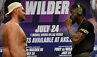 """(R) Deontay """"The Bronze Bomber"""" Wilder takes off his shades to face off with with Tyson Fury at a press conference Tuesday, Los Angeles, CA.USA. June 15,2021<br /> The two will fight for a 3rd time on Saturday, July 24, headlining a pay-per-view event live from T-Mobile Arena in Las Vegas NV  (Photo by Gene Blevins)"""