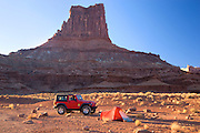 Camping along the White Rim Trail at the Airport Campground, Island in the Sky District, Canyonlands National Park, near Moab, Utah.