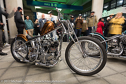 Luck Cycles arrive at the Pacifico Hall for the Mooneyes 26th Annual Yokohama Hot Rod and Custom Show, Yokohama, Japan. Saturday December 2, 2017. Photography ©2017 Michael Lichter.