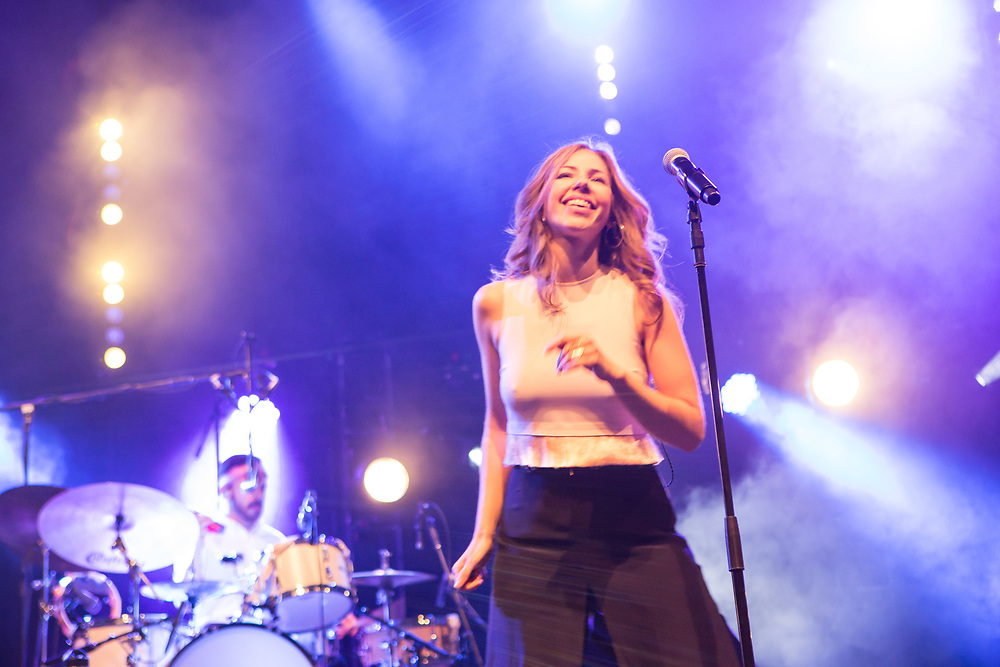 Brooklyn, NY – 7 June 2017. Brooklyn-based Lake Street Dive opened the 2017 season of the BRIC Celebrate Brooklyn! Festival at the Prospect Park Bandshell to a packed venue. The band features Rachel Price on lead vocals; also on stage is drummer Mike Calabrese.