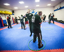 Kicking during an exercise. Stef Noij, KMG Instructor from the Institute Krav Maga Netherlands, takes the IKMS G Level Programme seminar today at the Scottish Martial Arts Centre, Alloa.