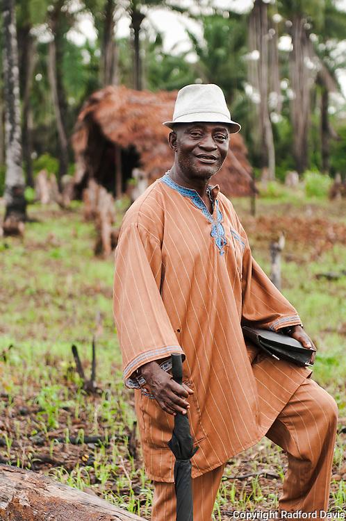The Chief on a rice farm.