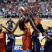 UNCASVILLE, CONNECTICUT- JUNE 3:  Jonquel Jones #35 of the Connecticut Sun attempts to shoot while Elizabeth Williams #52 of the Atlanta Dream defends the basket during the Atlanta Dream Vs Connecticut Sun, WNBA regular season game at Mohegan Sun Arena on June 3, 2016 in Uncasville, Connecticut. (Photo by Tim Clayton/Corbis via Getty Images)