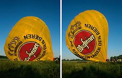 GERMANY SCHLESWIG-HOLSTEIN KIEL 9JUN02 - Combo picture of sequence of the balloon's hull filling with hot air and gradually gaining upright position above the basket...jre/Photo by Jiri Rezac..© Jiri Rezac 2002..Contact: +44 (0) 7050 110 417..Mobile:  +44 (0) 7801 337 683.Office:  +44 (0) 20 8968 9635..Email:   jiri@jirirezac.com.Web:     www.jirirezac.com