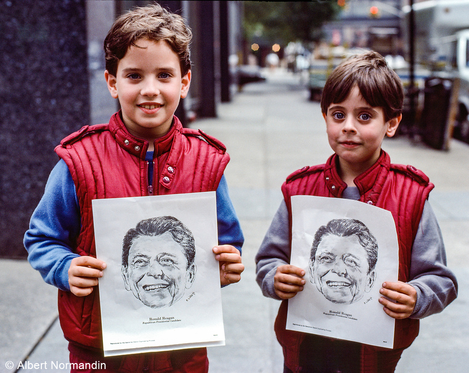 Two Boys with Reagan Drawings, New York City, New York, USA, October 1984