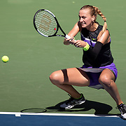 2019 US Open Tennis Tournament- Day Four.   Petra Kvitova of the Czech Republic in action against Andrea Petkovic of Germany in the Women's Singles Round Two match on Louis Armstrong Stadium at the 2019 US Open Tennis Tournament at the USTA Billie Jean King National Tennis Center on August 29th, 2019 in Flushing, Queens, New York City.  (Photo by Tim Clayton/Corbis via Getty Images)