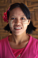 Thanaka also spelt thanakha is a yellowish white cosmetic paste made from ground bark. It is a distinctive feature of Myanmar  commonly applied to the face of women and girls and to a lesser extent men and boys.