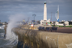 © Licensed to London News Pictures. 20/10/2017. Southsea, UK.  Rough seas crash against the sea wall near Southsea Common in Portsmouth this morning, 20th October 2017. Southern England has been experiencing strong winds this morning, and is set for stronger winds as Storm Brian approaches from the Atlantic. Photo credit: Rob Arnold/LNP