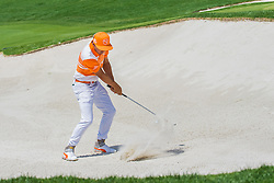 Rickie Fowler hits his 3rd shot for a green side bunker on the 5th hole during the Wells Fargo Championship on Sunday, May 8, 2016 at Quail Hallow Country Club in Charlotte, NC. David Grooms/CSM(Credit Image: © David Grooms/Cal Sport Media/CSM via ZUMA Wire)