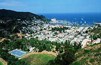 3 October 1998: Outdoor roller hockey in-line skating rink on Catalina Island, Catalina, Los Angeles County California. Aerial photo. Rink to the water.