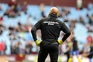 Everton goalkeeper Tim Howard before k/o wearing FA150 t-shirt. Barclays Premier League, Aston Villa v Everton at Villa Park in Aston, Birmingham on Saturday 26th Oct 2013. pic by Andrew Orchard, Andrew Orchard sports photography,