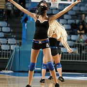 Efes Pilsen's Show girls during their Turkish Basketball league match Efes Pilsen between Banvit at the Sinan Erdem Arena in Istanbul Turkey on Saturday 02 April 2011. Photo by TURKPIX
