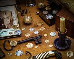 Still life, antique coin collection.