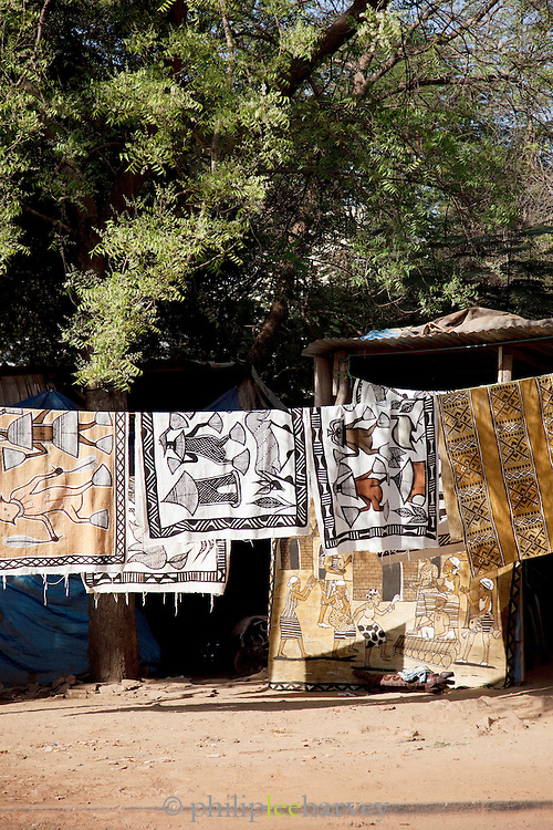 Rugs and throws for sale in a shop in Bamako, Mali