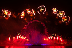 London, January1st 2017. The traditional New Year's fireworks display takes place at the London Eye on the banks of the River Thames, creating a spectacle for thousands of revellers on the Embankment. <br /> <br /> ©Paul Davey. FOR LICENCING CONTACT: Paul Davey +44 (0) 7966 016 296 paul@pauldaveycreative.co.uk