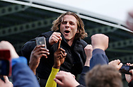 Wycombe Wanderers manager Gareth Ainsworth celebrates promotion to League One during the EFL Sky Bet League 2 match between Chesterfield and Wycombe Wanderers at the b2net stadium, Chesterfield, England on 28 April 2018. Picture by Paul Thompson.