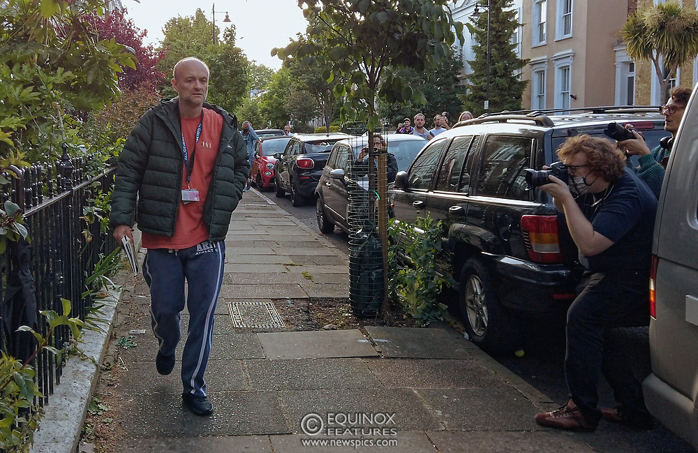 """London, United Kingdom - 25 May 2020<br /> Dominic Cummings arriving home. The scenes unfolding today at Dominic Cummings home in North London. Boris Johnsons political advisor spent the day in discussions with the Prime Minister after accusations of breaking the Corona virus lockdown. Neighbours and passers-by protested and shouted """"hypocrite"""", """"resign"""" and """"shame on you"""" when he returned to his house. London, England, UK.<br /> **VIDEO AVAILABLE**<br /> (photo by: EQUINOXFEATURES.COM)<br /> Picture Data:<br /> Photographer: Equinox Features<br /> Copyright: ©2020 Equinox Licensing Ltd. +443700 780000<br /> Contact: Equinox Features<br /> Date Taken: 20200525<br /> Time Taken: 000915<br /> www.newspics.com"""