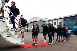 Ben Earl and Max Malins as Bristol Bears board the plane to Marseille ahead of their Challenge Cup Final in France - Rogan/JMP - 15/10/2020 - RUGBY UNION - Bristol Airport - Bristol, England - Toulon v Bristol Bears - European Rugby Challenge Cup Final.