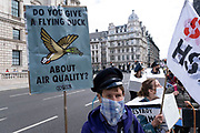 Protesters take part in a protest against the HS2 high-speed rail line during Extinction Rebellion demonstration on 4th September 2020 in London, United Kingdom. With government resitting after summer recess, the climate action group has organised two weeks of events, protest and disruption across the capital. Extinction Rebellion is a climate change group started in 2018 and has gained a huge following of people committed to peaceful protests. These protests are highlighting that the government is not doing enough to avoid catastrophic climate change and to demand the government take radical action to save the planet.
