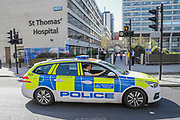 Security is tightened at St Thomas' Hospital, where the Prime Minister Boris Johnson is in intensive care. The 'lockdown' continues for the Coronavirus (Covid 19) outbreak in London.