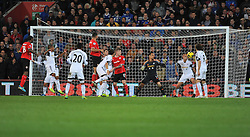 Cardiff City's Steven Caulker scores the opening goal of the game.  - Photo mandatory by-line: Alex James/JMP - Tel: Mobile: 07966 386802 03/11/2013 - SPORT - FOOTBALL - The Cardiff City Stadium - Cardiff - Cardiff City v Swansea City - Barclays Premier League