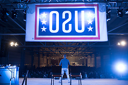 December 21, 2017 - Sevilla, Spain - Comedian and actor Adam Devine performs during Chairmans USO Holiday Tour at Moon Air Base Dec. 21, 2017. .(Credit Image: