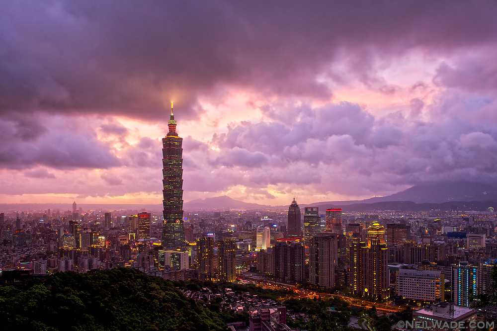 Stormy, purple skies over Taipei City, Taiwan.