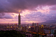 Stormy, purple skies over Taipei City, Taiwan.