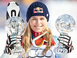 12.03.2010, Kandahar Strecke Damen, Garmisch Partenkirchen, GER, FIS Worldcup Alpin Ski, Garmisch, Lady SuperG, im Bild Jubel bei der Gewinnerin des Gesamtweltcup und des Riesenslalom und SuperG Weltcup 2009 2010 Vonn Lindsey, ( USA ), Ski Head, mit der Kristallkugel, EXPA Pictures © 2010, PhotoCredit: EXPA/ J. Groder / SPORTIDA PHOTO AGENCY