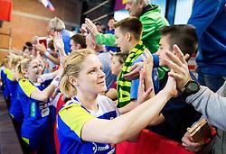 Neza Mitrusevska of Slovenia celebrates after winning the handball game between Women National Teams of Slovenia and Switzerland in 2014 Women's European Championship Qualification, on March 30, 2014 in Arena Kodeljevo, Ljubljana, Slovenia. Photo by Vid Ponikvar / Sportida
