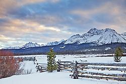 Sunset, jagged fence, Sawtooth Range, Stanley, Idaho