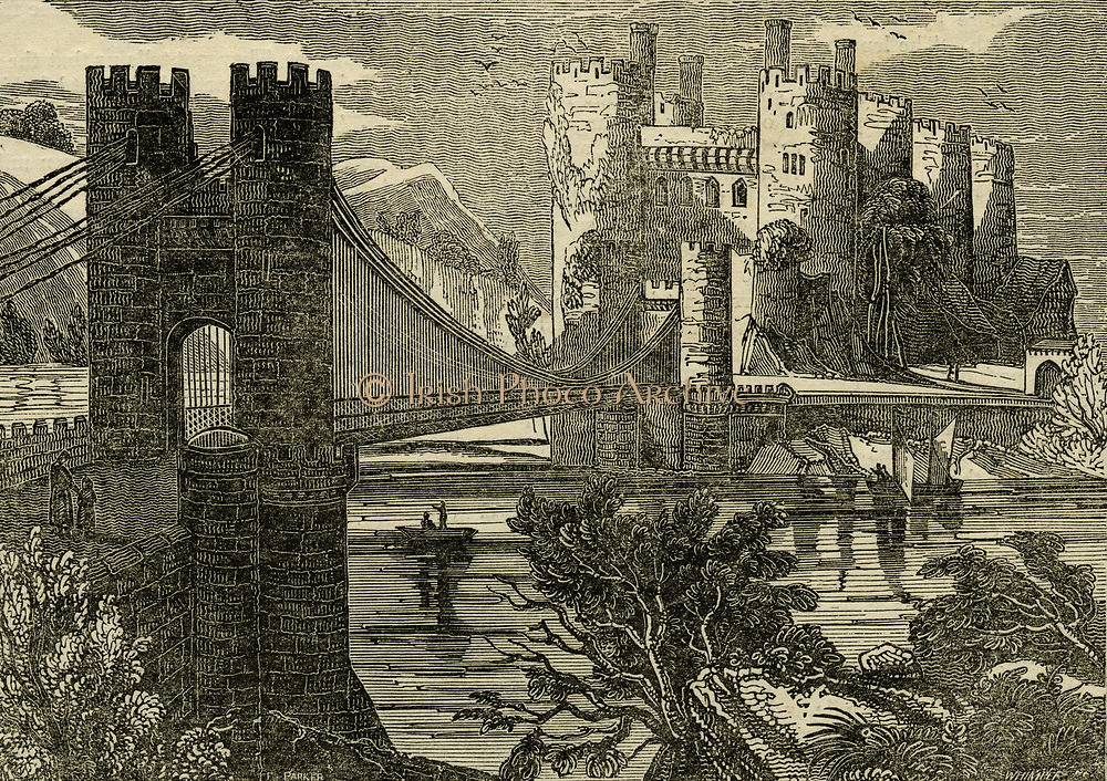 'Thomas Telford's  suspension bridge over the Conway, Wales. First stone of bridge laid in April 1822 and the work finished by the summer of 1826. Woodcut, 1833.'