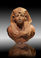 Quartz Ancient Egyptian Statue head of King Amenhotep II from Wad Ban Naga, Sudan . 18 th Dynasty 1425 BC . Neues Reich Museum Berlin Cat No: AM 2057. .<br /> <br /> If you prefer to buy from our ALAMY PHOTO LIBRARY  Collection visit : https://www.alamy.com/portfolio/paul-williams-funkystock/ancient-egyptian-art-artefacts.html  . Type -   Neues    - into the LOWER SEARCH WITHIN GALLERY box. Refine search by adding background colour, subject etc<br /> <br /> Visit our ANCIENT WORLD PHOTO COLLECTIONS for more photos to download or buy as wall art prints https://funkystock.photoshelter.com/gallery-collection/Ancient-World-Art-Antiquities-Historic-Sites-Pictures-Images-of/C00006u26yqSkDOM