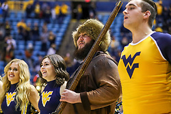 Dec 1, 2019; Morgantown, WV, USA; The West Virginia Mountaineers mascot celebrates after beating the Rhode Island Rams at WVU Coliseum. Mandatory Credit: Ben Queen-USA TODAY Sports
