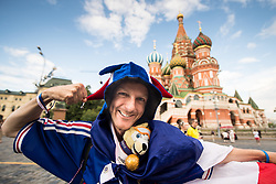 July 13, 2018 - Moscow, Russia - 180713 A fan of France in front of Saint Basil's Cathedral at the Red Square during the FIFA World Cup on July 13, 2018 in Moscow..Photo: Petter Arvidson / BILDBYRN / kod PA / 92086 (Credit Image: © Petter Arvidson/Bildbyran via ZUMA Press)