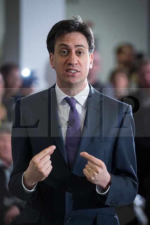 © Licensed to London News Pictures . 31/01/2014 . Manchester , UK . Leader of the Labour Party , ED MILIBAND , delivers a speech and Q&A at Wythenshawe Forum this afternoon (31st January 2014) as the party continues to campaign for Mike Kane in the upcoming Wythenshawe and Sale East by-election , following the death of Paul Goggins . Photo credit : Joel Goodman/LNP