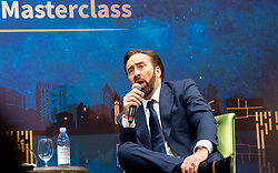 December 9, 2018 - Macao, Macao SAR, China - Nicolas Cage conducts a masterclass for the public at the International Film Festival and Awards Macao 2018. Mr Cage, who is showing his film Mandy during the festival, talks to a full house in the ballroom of the Wynn Casino Macau. (Credit Image: © Jayne Russell/ZUMA Wire)