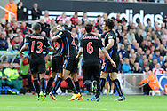 Marouane Chamakh of Crystal Palace©  celebrates after he scores the 1st goal.Barclays Premier league match, Stoke city v Crystal Palace at the Britannia Stadium in Stoke on Trent on Saturday 24th August 2013. pic by Andrew Orchard , Andrew Orchard sports photography,